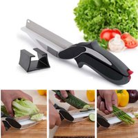 Wholesale Clever Cutter in Stainless Steel Kitchen Scissors With Sharp Knife Blade Cutting Board Food Cutter for Meat Vegetable b357