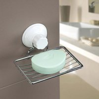 Wholesale Fashion Strong Suction Bathroom Shower Accessory Soap Dish Soap Dishes Holder Cup Tray sponge holder bathroom storageE5M1 order lt no trac