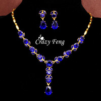 Wholesale Wedding Jewelry Sets For Women Fashion k Yellow Gold Plated CZ Diamond Necklace Earrings Flower Jewelry Sets