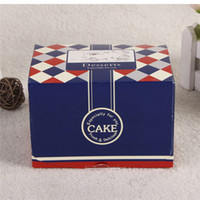 bakery and cakes - 8x9x12cm pieces Bakery Handmade Navy Blue Kraft Packing Paper Box for Cupcake Chocolate Cake Boxes and Packaging
