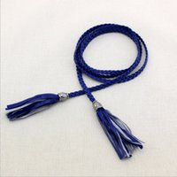 Wholesale Classic Wild Women PU Leather Thin Braided Tassels Belt Lady All Match Waistband Color Optional cm BE02