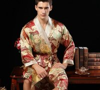 Wholesale hot chinese pure silk robe Male long sleeve real silk robe sleepwear bathrobe dressing gown men s silk kimono hombre