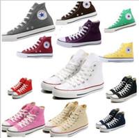 al por mayor hombres zapatos nuevos estilos-La nueva estrella del tamaño grande 35-45 superiores de los zapatos ocasionales Bajo Alto Estilo superior estrellas del deporte / zapatos de lona de las mujeres del mandril de lona clásicos de calzado las zapatillas de deporte de los hombres