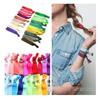 Wholesale 20 colors New Knotted Ribbon Hair Tie Ponytail Holders Stretchy Elastic Headbands Kids Women Hair Accessory