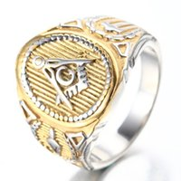 Wholesale Cool Freemason Mens Boys Gold Silver L Stainless Steel Free Mason Masonic Ring US Size