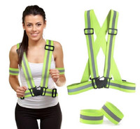Wholesale Reflective Vest with Set of Reflective Bands Provides High Visibility Day Night For Running Jacket Adjustable