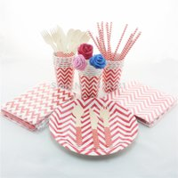 baby shower paper plates napkins - 780pcs Red Chevron Party Tableware Wedding Baby Shower Party Supplies Disposable Paper Plates Cups Straw Napkins Bags