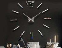 Wholesale 10Lots Modern Design DIY Analog D Large Wall Clock Mirror Surface Sticker Home decoration Office Decor LLA172