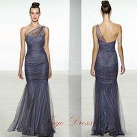 Cheap 2017 Elegant Sheer Ruched One-Shoulder Sweetheart Neckline Full Pleats Bodice Floor Length Bridesmaid Dress with Zipper Up Mermaid Skirt