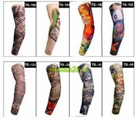 Wholesale Multi style Nylon elastic Fake temporary tattoo sleeve designs body Arm stockings tatoo for cool men women fast shipping