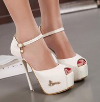 Cheap New Ankle Strap White Wedding Shoes High Heels Ladies Sandals Party Shoes Nice 8 Colors