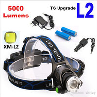 Wholesale Rechargeable LM XM L T6 L2 CREE LED Headlamp Zoomable Headlight LED Bicycle Flashlight Head Light Camping Headlamp LED