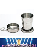 Wholesale NEW Size L Folding Wine Glass Keychain Wineglass Hip Flasks Stainless Steel Cup Scalable Drinking Vessel Extendable Drunkard Whisky MYY
