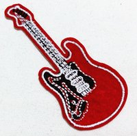 al music - 10 Pieces Red Guitar Music Band Punk Patch x cm Embroidered Applique Iron On Patch AL