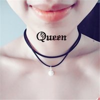 best pearl necklace - Best Sellers Short Double Layer Black Rope Choker Necklace Fashion Lovely White Pearl Japan Chokers Necklaces For Women Jewelry