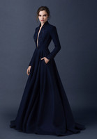 acrylic carpet - Cheap Elegant Plunging V Neck Navy Blue Satin Embroidery Beads Long Muslim Prom Formal Dresses Long Sleeved Evening Gowns Dresses