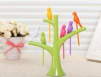 Wholesale Creative Cute Set of Birdie Fruit Fork Birds Fruit Forks Kitchen Accessories Home Tableware Dinnerware