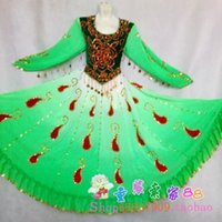 Wholesale 2014 latest dance clothes Xinjiang dance performance apparel Uygur woman fan dance stage