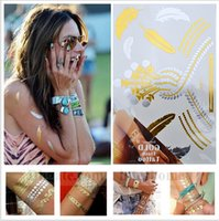 Wholesale Metal Gold Flash Temporary Tattoo Sexy Indians Tattoos Tatoo Sticker Body Art Painting Glitter Stickers Tattoo Beach Waterproof Tattoos B978