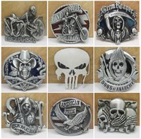Wholesale Free DHL Skull Belt Buckles Unique Silver Belt Buckle Texas Western Buckle Western Badge Styles Army Big Belt Buckle E871L