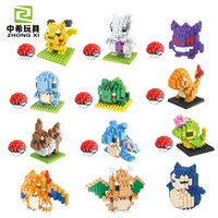 Wholesale 8 style LOZ Poke Go Figure Minifigure Building Blocks DIY Pikachu Squirtle Model Toys Miniature Diamond Brick children Toys