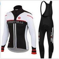 Prezzi Kit e bike-2016 Castellii Ciclismo Jersey Imposta in bianco e nero lungo in bicicletta Camicie e rosso Bavaglino con 3D imbottito bici vestiti comodi kit femminile della bicicletta