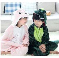 Wholesale Flannel kids animal pajamas one piece pink green dinosaur onesies pajamas dinosaurio costume halloween costume for kids animais