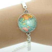 art quality bangle - Glass cabochon dome charm bracelets bangles Vintage Globe Cuff Bangles Earth World Map Art bangles Good Quality cheap jewelry