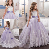 Wholesale 2017 Cute Purple Christmas Flower Girl Dresses Sash Beads Appliques Bow Girl Wedding Dresses Hollow Back Girls Pageant Dress For Weddings