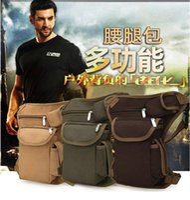 Los hombres que montan cintura de la lona Packs exterior de la pierna táctico multifunción Bolsa de los hombres Paquete Deporte Ocio bolsillos bolsa de Pesca