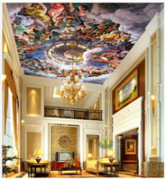 angels heat - Custom d wallpaper d ceiling wallpaper murals wall Religious frescoes on clouds in the sky angel European art d living room wall decor