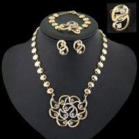 Wholesale Hot Ornate Creative Euramerican Rhinestone Flower Necklace Earring Bracelet Ring Set For Women Piece Jewelry Set