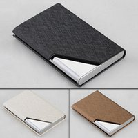 american korean names - PU Leather Stainless Velvet Purse Business Name ID Credit Card Holder Case Box E00025 CAD