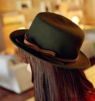 Wholesale 2016 New Woman Winter Travel Floppy Hats England Retro Top Hat Girl Wool Felt Hats Fashion Beach Bowknot Jazz Hat