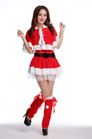 Wholesale Sexy Costumes For Role Play - Santa Claus Women Dress Tunic Christmas Party Dress Xmas Navidad Role Play Theme Costume Set Sexy Dress For Girls