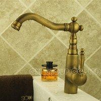 antique auto accessories - Antique Brass Faucet Basin Mixer Single Hole Water Tap Bathroom faucets mixers taps misturador Bathroom accessory