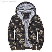Wholesale Plus Size Brand Camo Hoodies Man Wool Liner And Camouflage Color Warm Jacket Sweatshirt Man Colors Sizes M XL J027