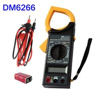Wholesale DT266 AC DC Digital Clamp Multimeter Electronic Volt Amp Resistance Tester Meter Data LCD Display INS_50X