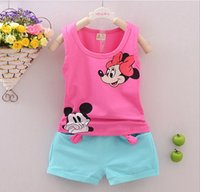 baby mikey - Toddler Girls Boys Clothing Sets Kids Minnie Vest Shorts Pics Suits New Summer Children Mikey Clothing Sets Baby HJIA284