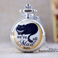 Wholesale Fashion Silver we re all Mad here Lovely Black Cat Mirror Case Quartz Pocket Watch Analog Pendant Necklace Mens Womens Gifts