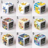 Wholesale Poke Pokémon go LED Clock toys style new children cartoon Pikachu Charmander Jeni turtle clock toys B