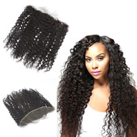 Wholesale Brazilian Hair Kinky Curly x4 Lace Frontal Closure Bleached Knots Free Middle Three Part Ear to Ear Full Lace Frontals