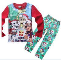 Wholesale 2016 Boys Chritsmas Childrens Under shirts and leggings Sets desgin for T Christmas Outfits for kids Christmas Pajamas for children