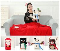 Cheap Christmas Children's Plush Blankets Baby Snowman Santa Claus Blanket Reindeer Nap Blanket Pillow Cushion Office Blankets Plush Toys Doll C10