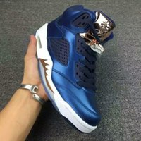 air coin - Air V Retro Olympic Release Bronze Coin Blue New Men basketball Shoes Hot best Quality High Street Fashion Sneakers