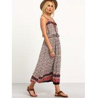 backless cami - Multicolor Tribal Print Long Cami Dress Women V Neck Sleeveless Spaghetti Strap Backless Long Maxi Dress