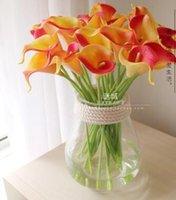 al por mayor cala anaranjada boda del lirio-DES FLORAL Flores artificiales Decoración de la boda Naranja Mini Calla Lily Bouquet Flor decorativa