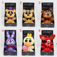 Wholesale 28pcs Five Nights At Freddy s FNAF Freddy cm Chica Bonnie Bear foxy Plush Teddy Bear Toys Doll for kids Baby Christmas Doll Gift