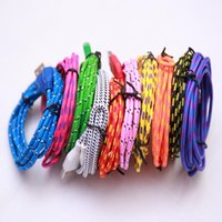 Wholesale Weave USB Cable m Android inphone Micro USB g Colorful colors Micro p battery charging transmit