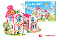 Wholesale Kids Toys D Puzzle Beneficial to wisdom Bear Bear Villa DIY Jigsaw Puzzle Educational Toys Paper Model